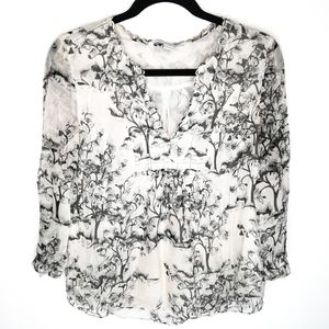 DVF Camden Toile Meadow White Silk Blouse
